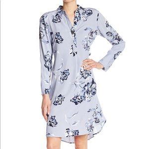 Floral Striped Blue Midi Dress